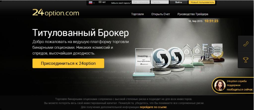 Брокер бинарных опционов 24option.com
