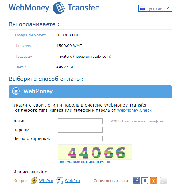 Страница оплаты через WebMoney
