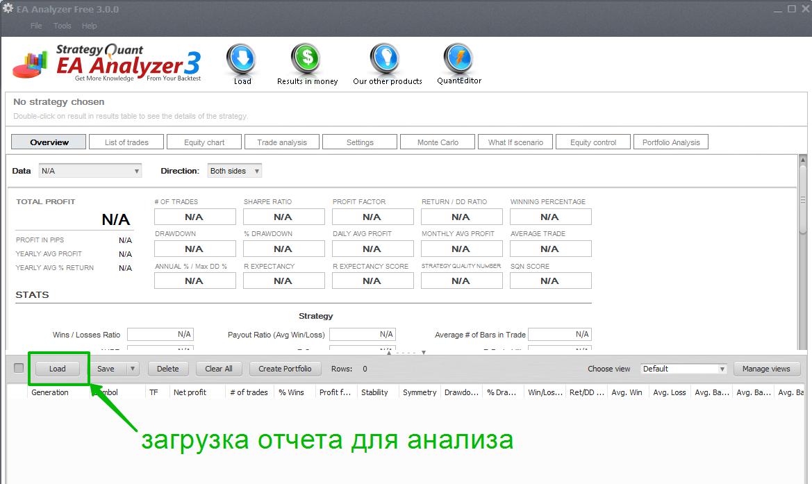 Загрузка детального отчета в EA Analyzer