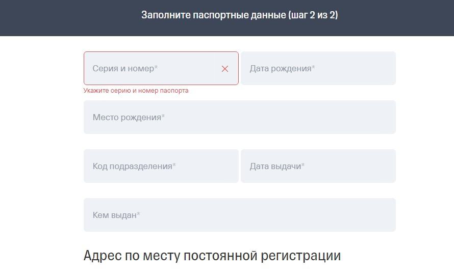 Заполнение паспортных данных Тинькофф Инвестиции